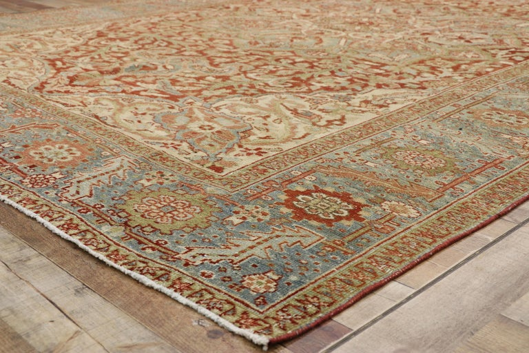 20th Century Distressed Antique Persian Heriz Design Rug with Rustic Artisan Cottage Style For Sale