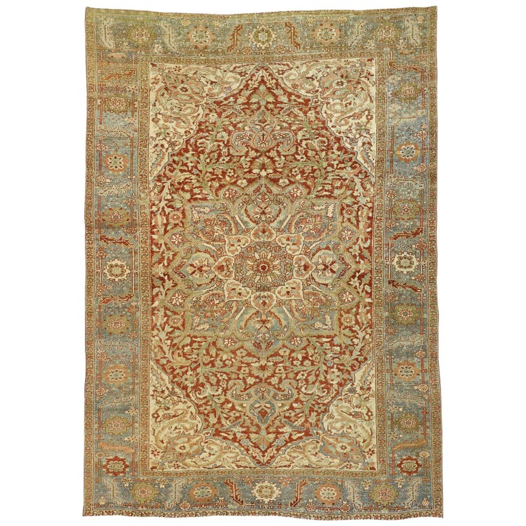 Distressed Antique Persian Heriz Design Rug with Rustic Artisan Cottage Style For Sale