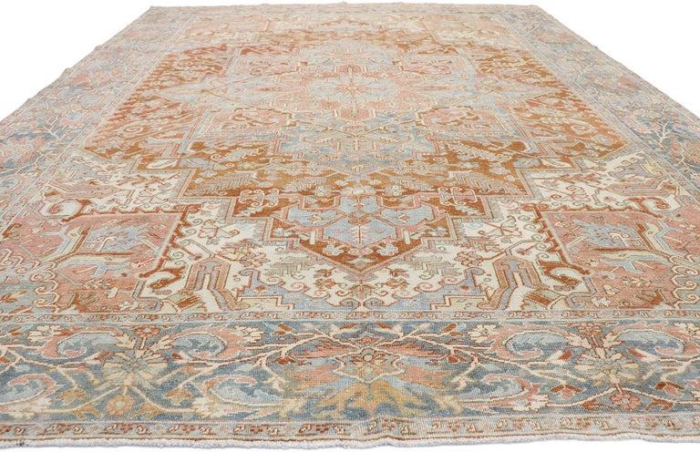 Heriz Serapi Distressed Antique Persian Heriz Design Rug with Rustic Artisan Style For Sale