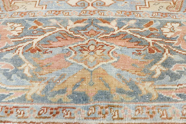 Turkish Distressed Antique Persian Heriz Design Rug with Rustic Artisan Style For Sale