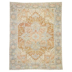 Distressed Antique Persian Heriz Design Rug with Rustic Artisan Style