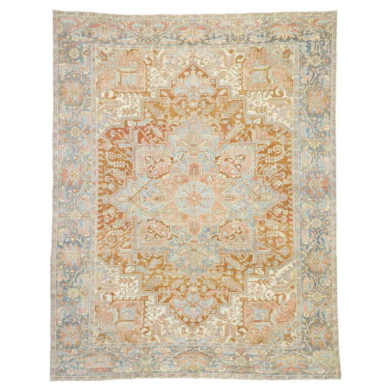 Distressed Antique Persian Heriz Design Rug with Rustic Artisan Style For Sale