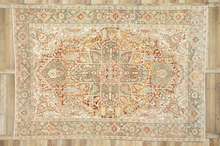 Wool Distressed Antique Persian Heriz Design Rug with Rustic Arts & Crafts Style For Sale