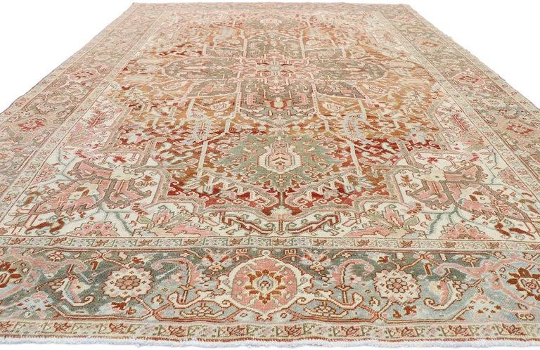 Heriz Serapi Distressed Antique Persian Heriz Design Rug with Rustic Arts & Crafts Style For Sale