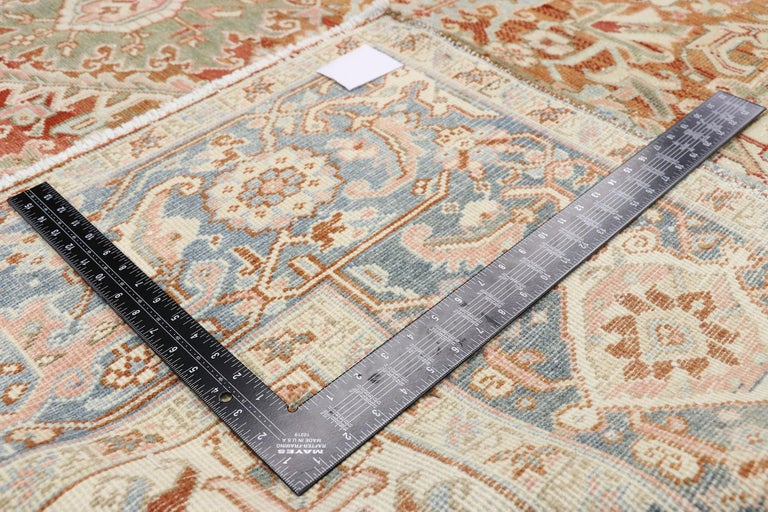 Hand-Knotted Distressed Antique Persian Heriz Design Rug with Rustic Arts & Crafts Style For Sale