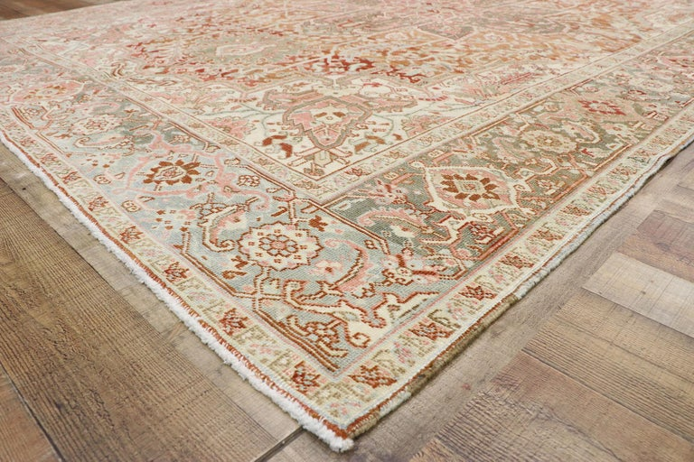 Distressed Antique Persian Heriz Design Rug with Rustic Arts & Crafts Style In Distressed Condition For Sale In Dallas, TX
