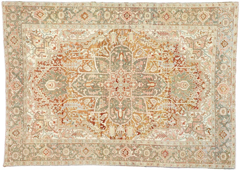 Distressed Antique Persian Heriz Design Rug with Rustic Arts & Crafts Style For Sale 1