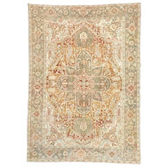 Distressed Antique Persian Heriz Design Rug with Rustic Arts & Crafts Style