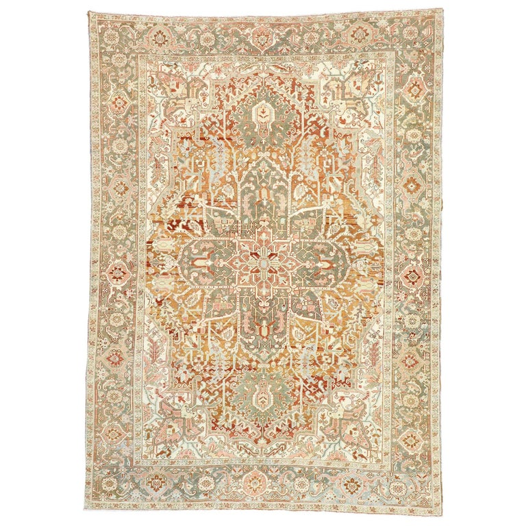 Distressed Antique Persian Heriz Design Rug with Rustic Arts & Crafts Style For Sale
