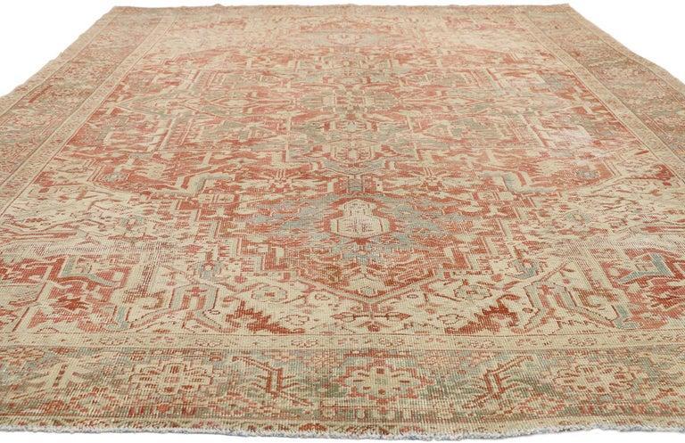 Heriz Serapi Distressed Antique Persian Heriz Design Rug with Rustic Bungalow Style For Sale