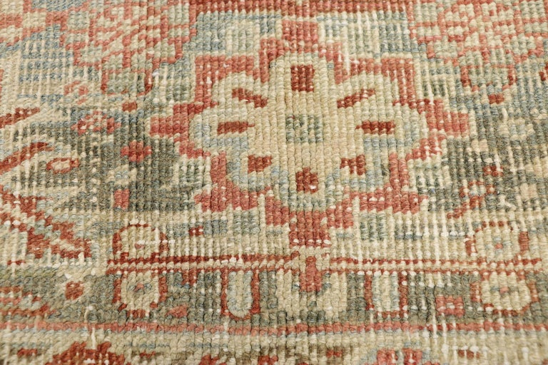 Turkish Distressed Antique Persian Heriz Design Rug with Rustic Bungalow Style For Sale