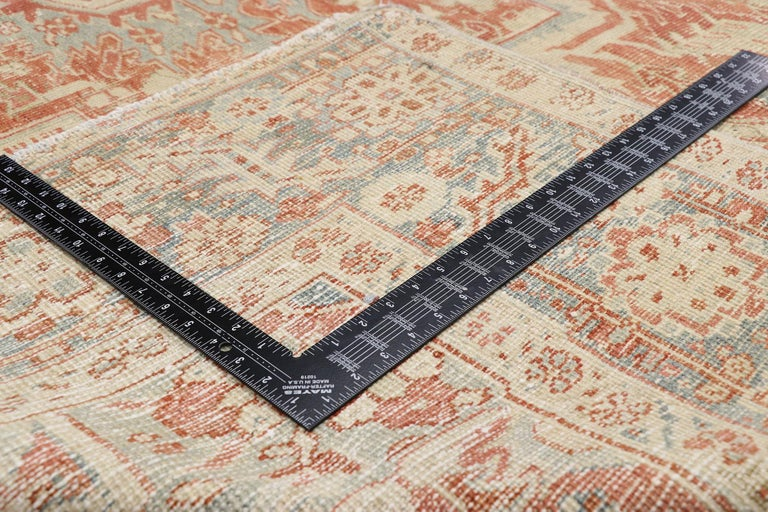 Hand-Knotted Distressed Antique Persian Heriz Design Rug with Rustic Bungalow Style For Sale