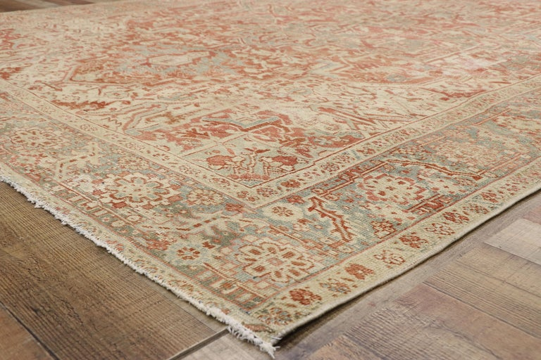 Distressed Antique Persian Heriz Design Rug with Rustic Bungalow Style In Distressed Condition For Sale In Dallas, TX