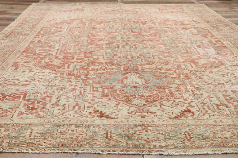 20th Century Distressed Antique Persian Heriz Design Rug with Rustic Bungalow Style For Sale