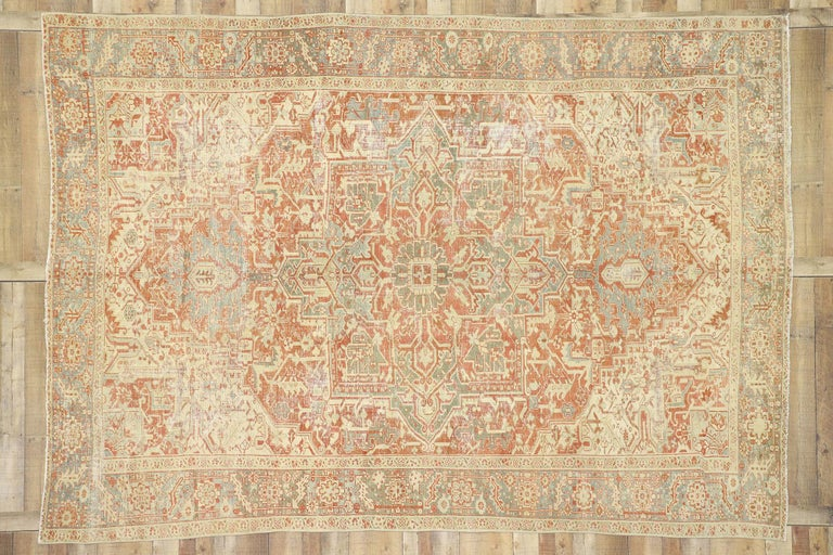 Wool Distressed Antique Persian Heriz Design Rug with Rustic Bungalow Style For Sale