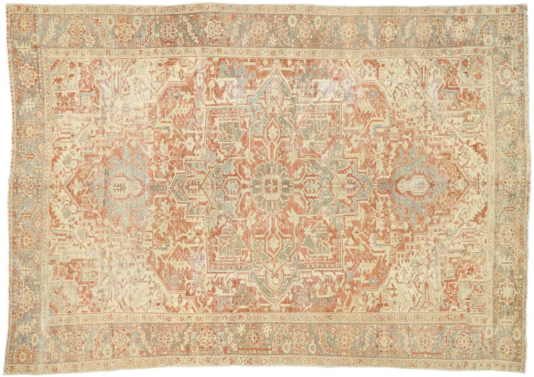 Distressed Antique Persian Heriz Design Rug with Rustic Bungalow Style For Sale 1