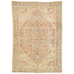 Distressed Antique Persian Heriz Design Rug with Rustic Bungalow Style
