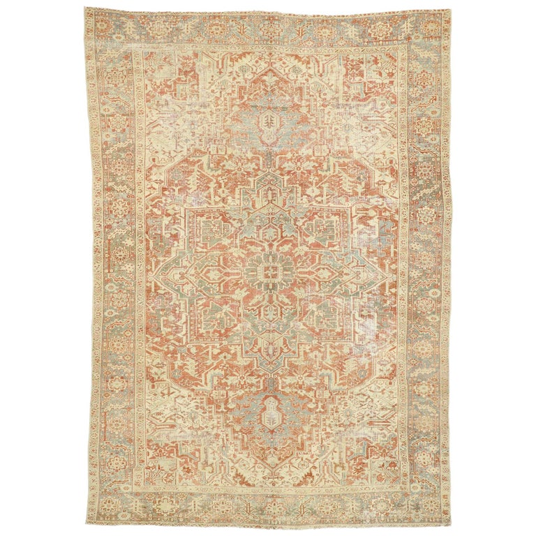 Distressed Antique Persian Heriz Design Rug with Rustic Bungalow Style For Sale