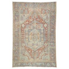 Distressed Antique Persian Heriz Design Rug with Rustic English Tudor Style