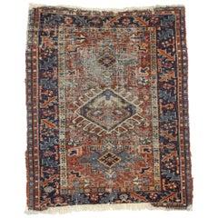 Distressed Antique Persian Heriz Karaja Rug with Rustic Artisan Style