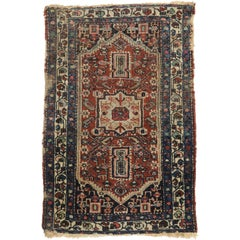 Distressed Antique Persian Heriz Rug, Study or Home Office Worn Rug