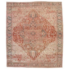 Distressed Antique Persian Heriz Rug with Rustic Bohemian Style