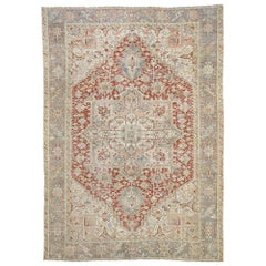 Distressed Antique Persian Heriz Style Rug with Relaxed Rustic Federal Style