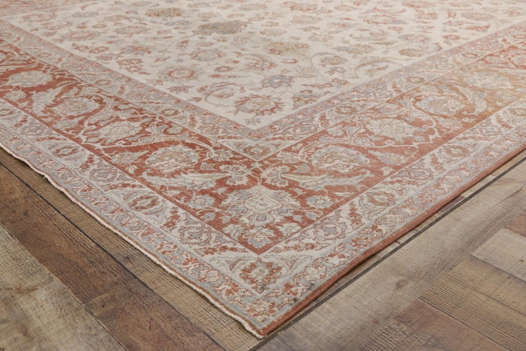 Distressed Antique Persian Isfahan Rug with Relaxed Federal Style, Esfahan Rug In Distressed Condition For Sale In Dallas, TX