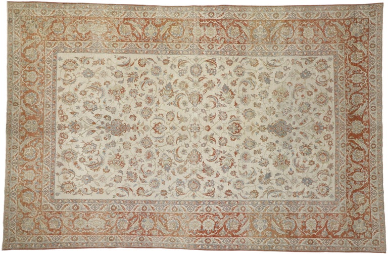 Wool Distressed Antique Persian Isfahan Rug with Relaxed Federal Style, Esfahan Rug For Sale