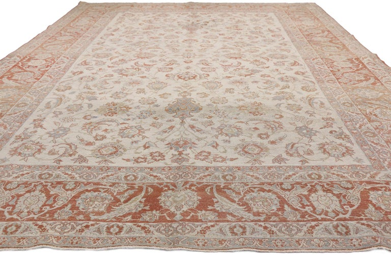 Tabriz Distressed Antique Persian Isfahan Rug with Relaxed Federal Style, Esfahan Rug For Sale
