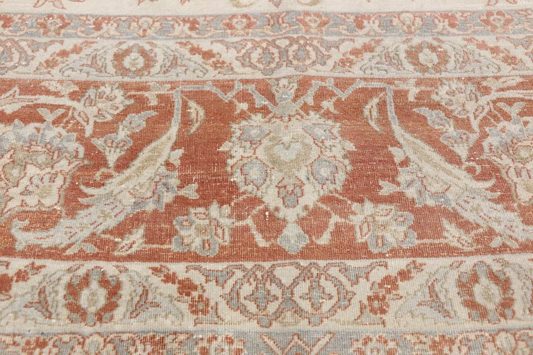 Turkish Distressed Antique Persian Isfahan Rug with Relaxed Federal Style, Esfahan Rug For Sale