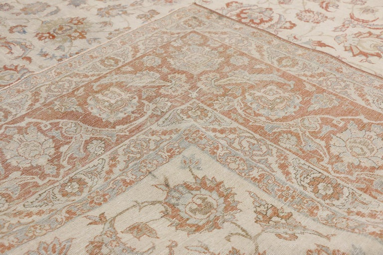 Hand-Knotted Distressed Antique Persian Isfahan Rug with Relaxed Federal Style, Esfahan Rug For Sale