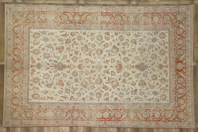 20th Century Distressed Antique Persian Isfahan Rug with Relaxed Federal Style, Esfahan Rug For Sale