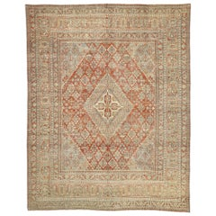 Distressed Antique Persian Joshegan Design Rug with Relaxed Rustic Federal Style