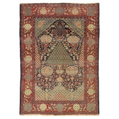 Distressed Antique Persian Kashan Mille-Fleurs Prayer Rug with Art Nouveau Style