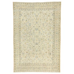 Distressed Antique Persian Kashan Rug with Cotswold English Manor Style
