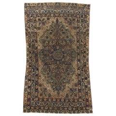 Distressed Antique Persian Kerman Rug with Industrial Speakeasy Style