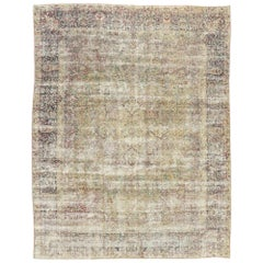 Distressed Antique Persian Kerman Rug with Modern Rustic English Cottage Style