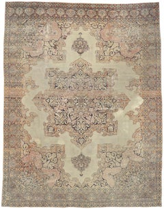 Distressed Antique Persian Kerman Rug with Relaxed French Provincial Style