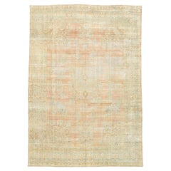 Distressed Antique Persian Kerman Rug with Rustic English Manor Style