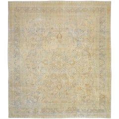Distressed Antique Persian Khorassan Design Rug with Rustic English Manor Style