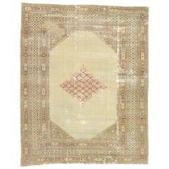 Distressed Antique Persian Khorassan Rug with Rustic English Manor Style
