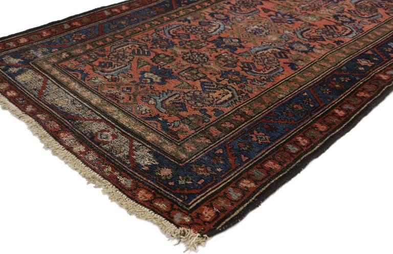 73082, distressed antique Persian Lilihan accent rug, Scatter rug with Art Deco style. This hand knotted wool distressed antique Persian Lilihan accent rug features an all-over Classic Herati design. The all-over Herati pattern is among the most