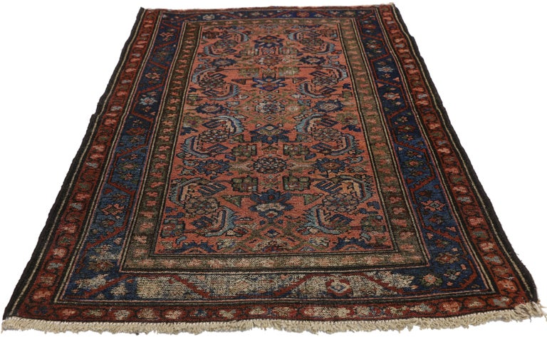 Hand-Knotted Distressed Antique Persian Lilihan Rug, Accent Rug with Art Deco Style For Sale