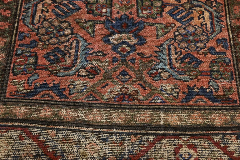 Distressed Antique Persian Lilihan Rug, Accent Rug with Art Deco Style In Good Condition For Sale In Dallas, TX
