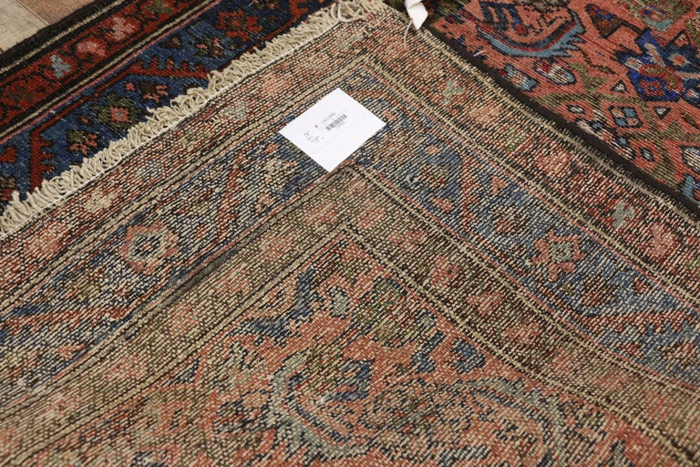 20th Century Distressed Antique Persian Lilihan Rug, Accent Rug with Art Deco Style For Sale