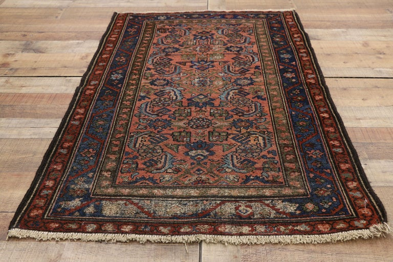 Distressed Antique Persian Lilihan Rug, Accent Rug with Art Deco Style For Sale 1
