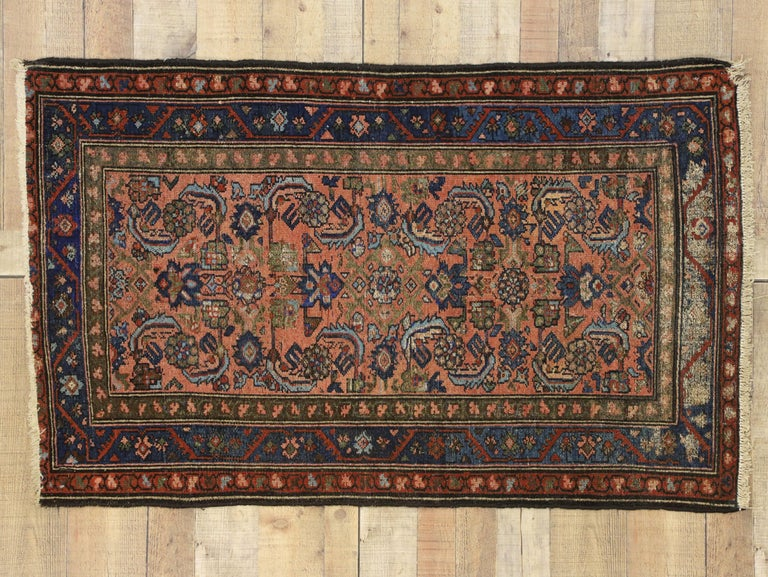 Distressed Antique Persian Lilihan Rug, Accent Rug with Art Deco Style For Sale 2