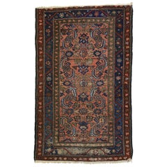 Distressed Antique Persian Lilihan Rug, Accent Rug with Art Deco Style