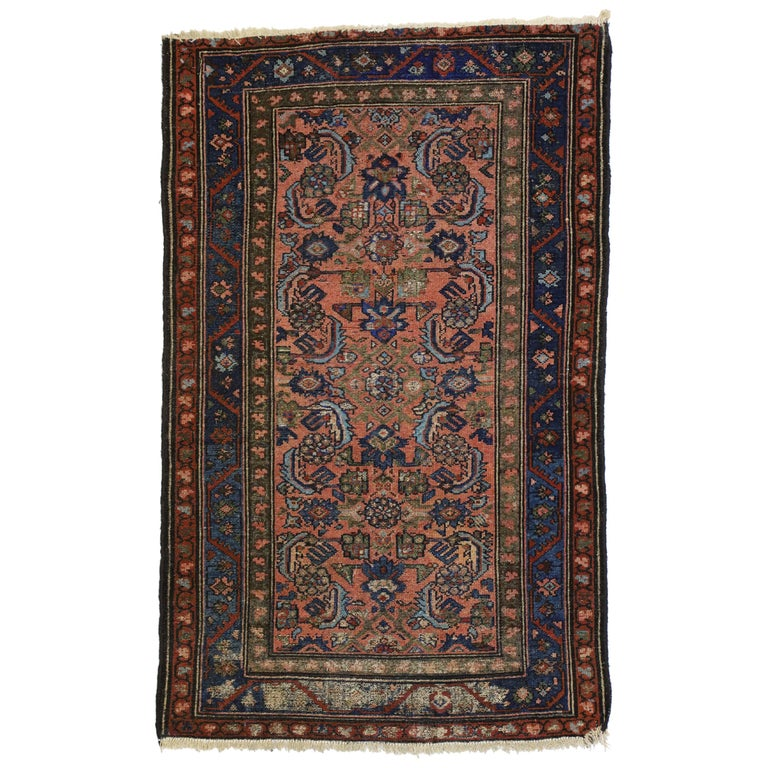 Distressed Antique Persian Lilihan Rug, Accent Rug with Art Deco Style For Sale